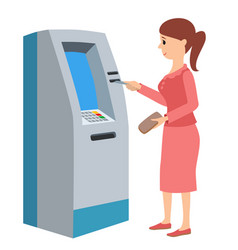 Woman using atm machine vector