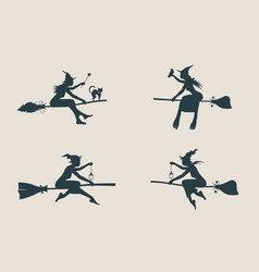 young flying witch icons set witches silhouettes vector image