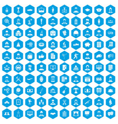 100 career icons set blue vector image vector image