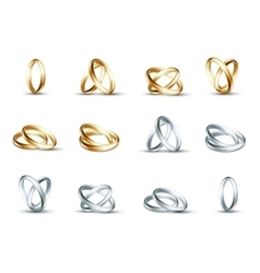 Wedding rings gold and silver ring vector
