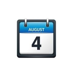 August 4 Calendar icon flat vector image