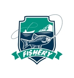 Fishery industry isolated badge icon vector
