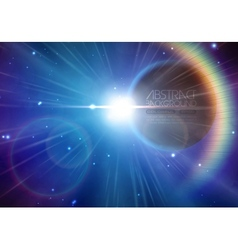 Solar eclipse background with stars and lens flare vector