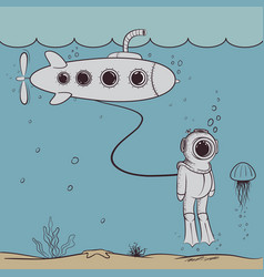 Cute diver floats in deep ocean with submarine vector
