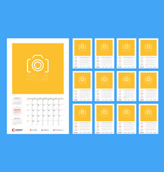 Calendar template for 2017 year week starts vector