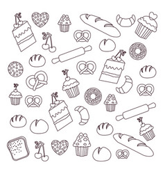 Bread muffin cake donut and rolling pin background vector