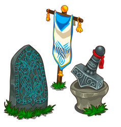 Set of items in norse mythology isolated vector