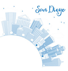 Outline san diego skyline with blue buildings and vector