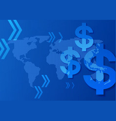 Dollar signs on world map blue background vector
