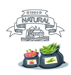 Natural food farm products banner bags with vector