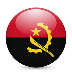 Round glossy icon of angola vector image