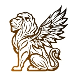 Mythological lion statue with wings vector