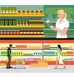 Food store interior flat style vector