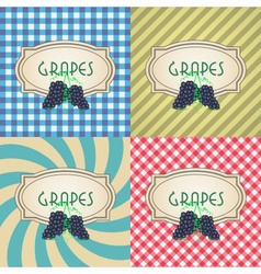 Four types of retro textured labels for red grapes vector