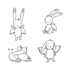 Set of cute rabbits with wings vector