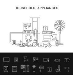 Household appliance line vector image
