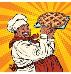 African american or latino cook with a berry pie vector