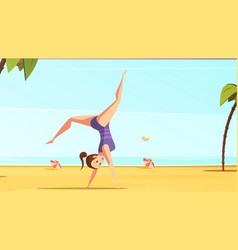 Beach acrobatics cartoon composition vector