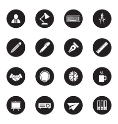 black flat business and office icon set vector image