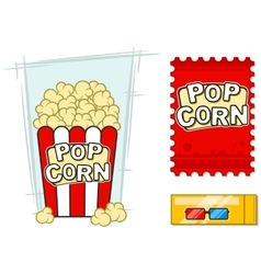 Cinema icons set stereo glasses popcorn vector