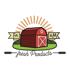 Color vintage farm emblem vector image
