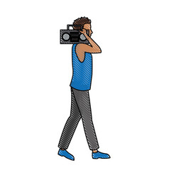 Drawing man with stereo walking vector