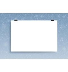 Falling snow mockup white sheet vector