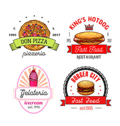 fast food restaurant cafe and pizzeria emblems vector image vector image