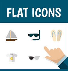 Flat icon summer set of scuba diving spectacles vector