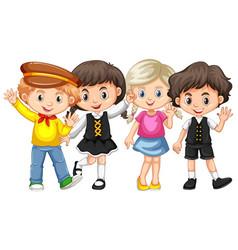 four kids waving hands vector image vector image