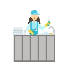 Girl washing dishes in the tap cleaning service vector