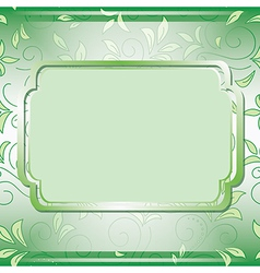 green frame on floral background vector image vector image