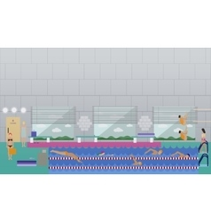 Horizontal banner with swimming pool vector