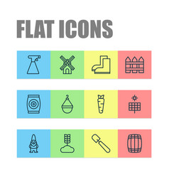 Icons set collection of sun power shovel vector
