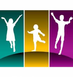 kids jump vector image