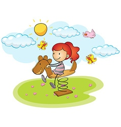 Little girl playing on rocking horse vector