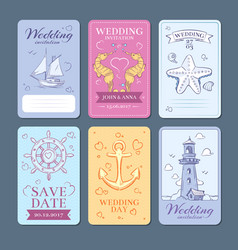 Marine sea voyage wedding invitation cards vector