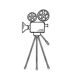 movie camera sketch vector image vector image