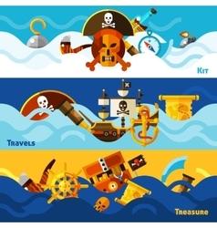 Pirates Horizontal Banners Set vector image vector image