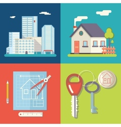Retro Real Estate Symbols Private House vector image vector image