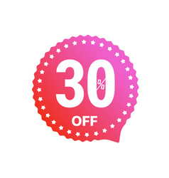Sale banner label isolated on white 30 percent vector