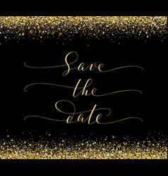 save the date card with falling glitter confetti vector image vector image