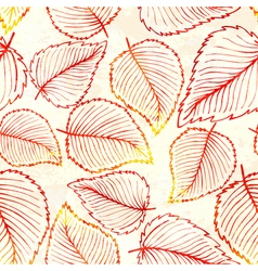 Seamless pattern with watercolor autumn leaves vector