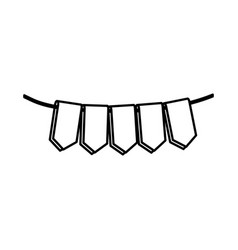 set of silhouette flags in a rope for decoration vector image