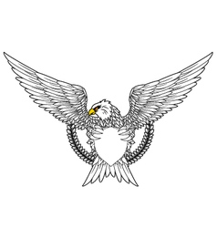 Shield and fury spread winged eagle tattoo vector