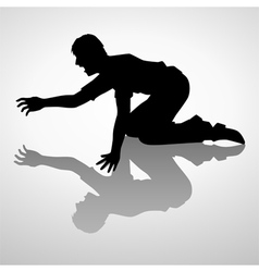 Silhouette of a man crawling vector image