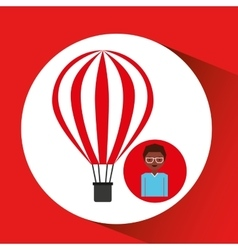 Travel woman air balloon red and white design vector