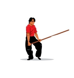 Wing chun kung fu man with a stick cartoon vector