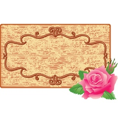 Wooden frame and flower vector image vector image