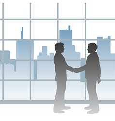 Big city business men deal handshake vector
